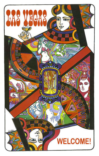 Wall Art - Painting - Las Vegas Welcome, Queen Card by Long Shot