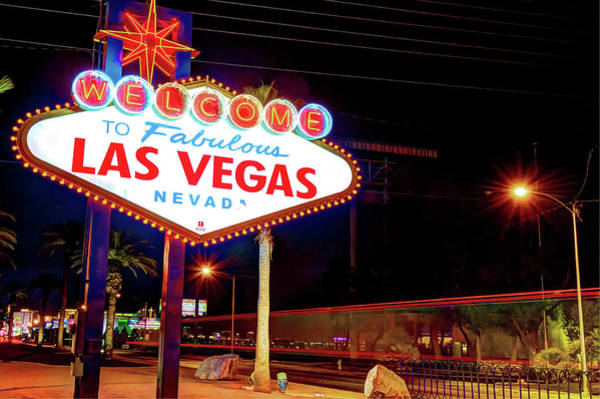 Photograph - Las Vegas Welcome Sign Lights by Gregory Ballos