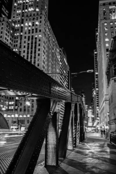 Photograph - Lasalle Street Bridge Night Scene by Sven Brogren