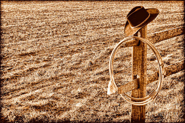 Wall Art - Photograph - Lasso And Hat On Fence Post - Sepia by Olivier Le Queinec