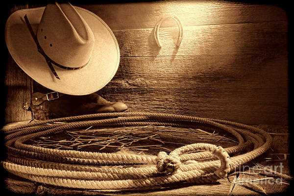 Photograph - Lasso In Old Barn by American West Legend By Olivier Le Queinec