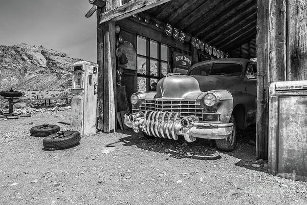 Green Car Photograph - Last Chance Gas - Old Desert Garage Bw by Edward Fielding