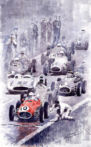 Auto Wall Art - Painting - Last Control Maserati 250 F France Gp 1954 by Yuriy Shevchuk