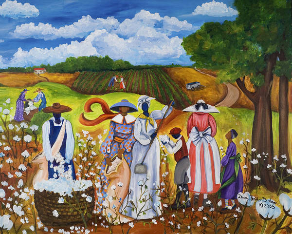 African Women Painting - Last Cotton Field by Diane Britton Dunham