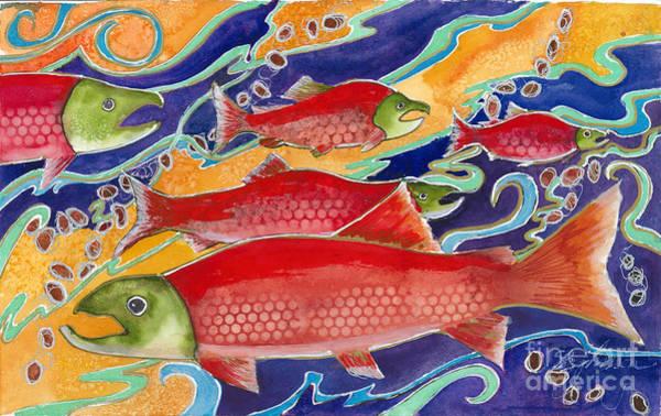 Spawn Painting - Last Dance Of The Sockeye Salmon by Susan Blackaller-Johnson