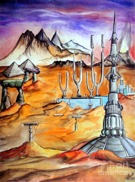 Space Shuttle Painting - Last Day Of Mars Civilization by Sofia Metal Queen