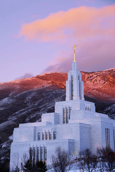 Late Wall Art - Photograph - Last Light At Draper Temple by Chad Dutson
