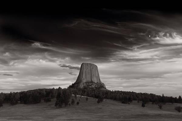 Wall Art - Photograph - Last Light On Devils Tower Bw by Steve Gadomski
