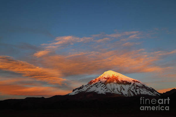 Photograph - Last Light On Sajama Volcano Bolivia by James Brunker