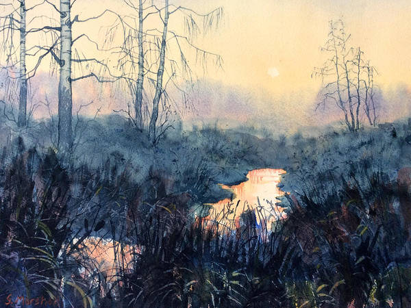 Painting - Last Light On Skipwith Marshes by Glenn Marshall