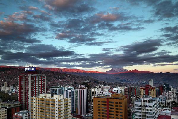 Photograph - Last Light Over La Paz Bolivia by James Brunker