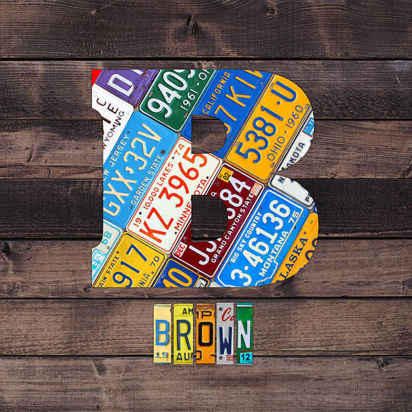 Letter Mixed Media - Last Name Letter B Monogram License Plate Art Custom by Design Turnpike