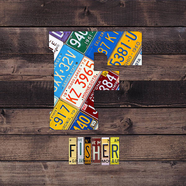 Letter Mixed Media - Last Name Letter F Monogram License Plate Art Custom by Design Turnpike