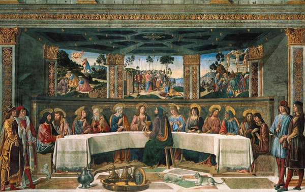 Sistine Wall Art - Painting - Last Supper by Cosimo Rosselli