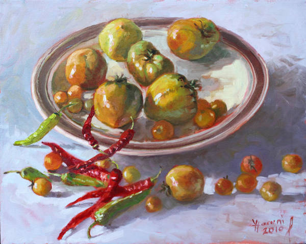 Still-life Painting - Last Tomatoes From My Garden by Ylli Haruni