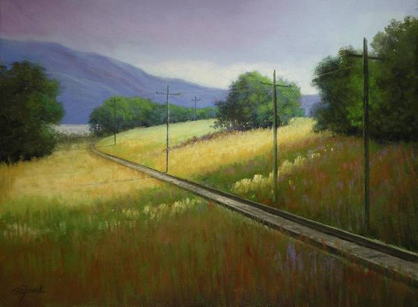 Utility Poles Painting - Last Train To Blue Mountain by Paula Ann Ford