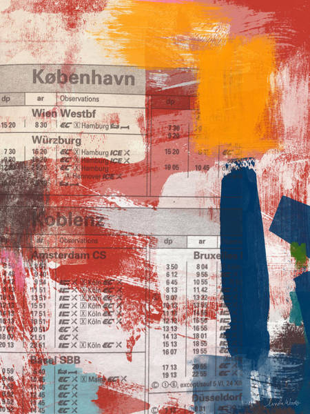 Travel Mixed Media - Last Train To Kobenhavn- Art By Linda Woods by Linda Woods