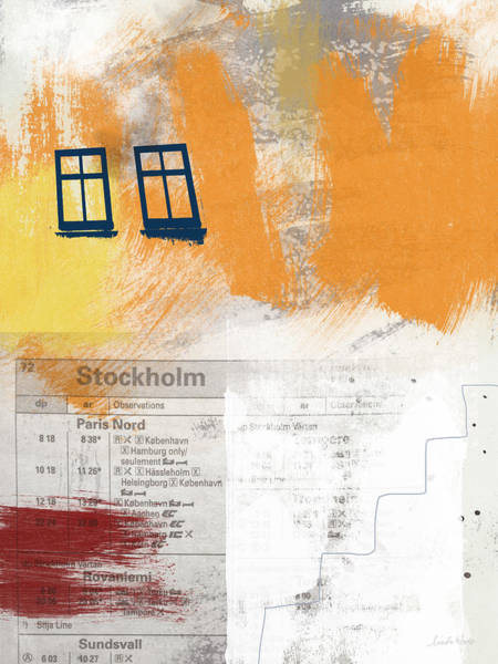 Travel Mixed Media - Last Train To Stockholm- Art By Linda Woods by Linda Woods