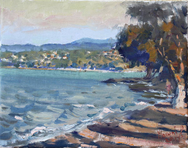 Late Wall Art - Painting - Late Afternoon At Dilesi Beach Athens by Ylli Haruni