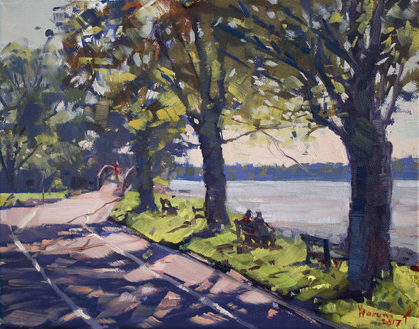 Late Wall Art - Painting - Late Afternoon At Niawanda Park by Ylli Haruni