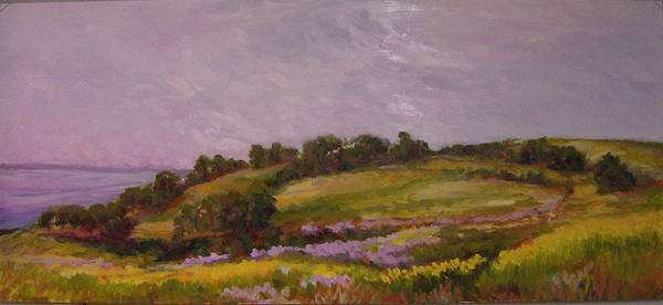Mustard Field Painting - Late Afternoon At Redwood City Baylands by Carolyn Jones