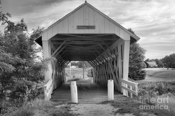 Photograph - Late Afternoon At The Imes Covered Bridge Black And White by Adam Jewell