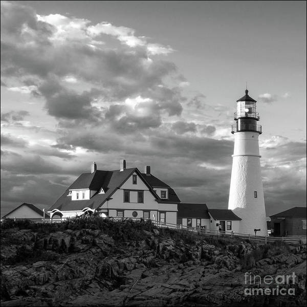 Photograph - Late Afternoon Clouds, Portland Head Light, Maine #98461-bw by John Bald