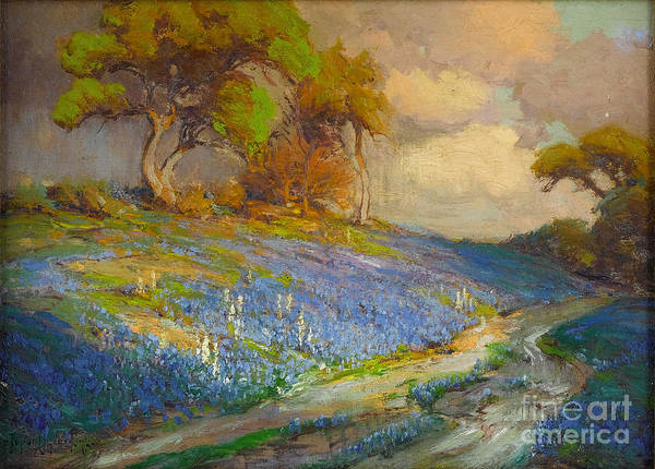 Sw Painting - Late Afternoon In The  Bluebonnets Sw Texas by MotionAge Designs