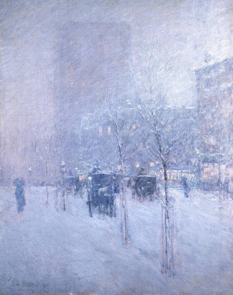 Late Painting - Late Afternoon, New York, Winter by Childe Hassam