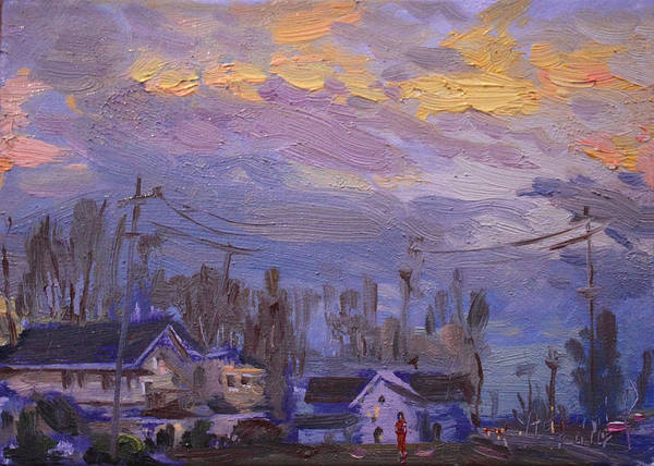 Late Wall Art - Painting - Late Evening In Town by Ylli Haruni
