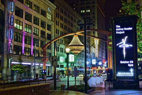 Playhouse Photograph - Late Night At Playhouse Square by Frozen in Time Fine Art Photography