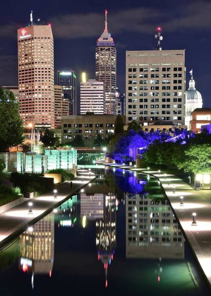 Wall Art - Photograph - Late Night Reflection In Indy by Frozen in Time Fine Art Photography