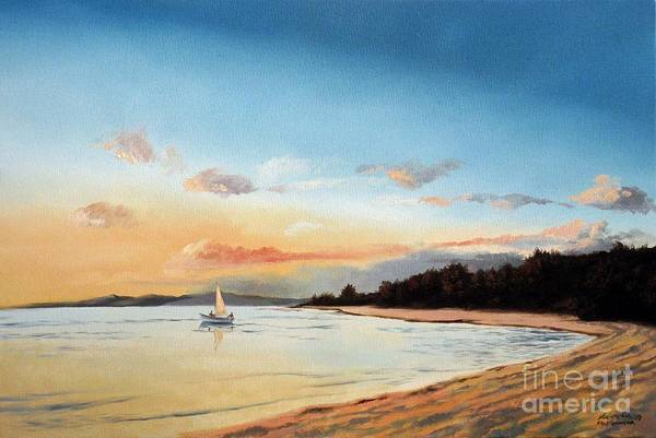 Painting - Late Sunset Along The Beach by Christopher Shellhammer