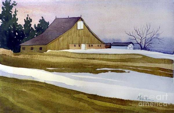 Barn Snow Painting - Late Winter Melt by Donald Maier