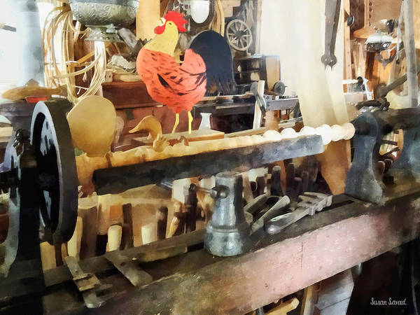 Photograph - Lathe In Wood Shop by Susan Savad