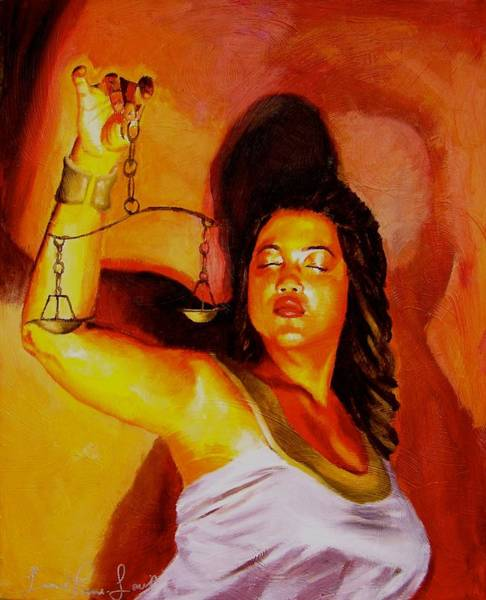 Wall Art - Painting - Latina Lady Justice by Laura Pierre-Louis