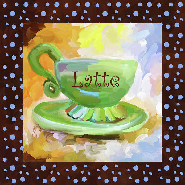 Wall Art - Painting - Latte Coffee Cup With Blue Dots by Jai Johnson