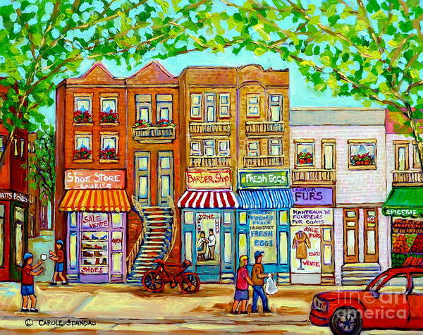 Painting - Laurier Street Circa 1960 Montreal Memories Vintage Store Fronts Apartments Family Life Canadian Art by Carole Spandau