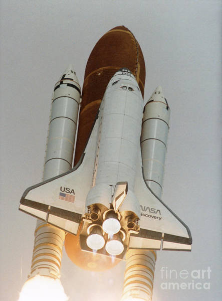 Photograph - Launch Of Shuttle Sts-31 Carrying Hubble by Nasa
