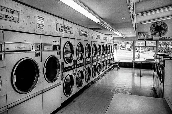 Dirty Laundry Photograph - Laundromat Washing Machines In Black And White by YoPedro