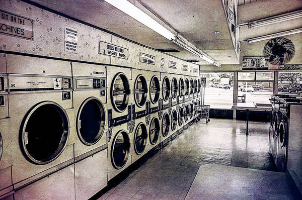 Dirty Laundry Photograph - Laundromat Washing Machines In Color Tones by YoPedro