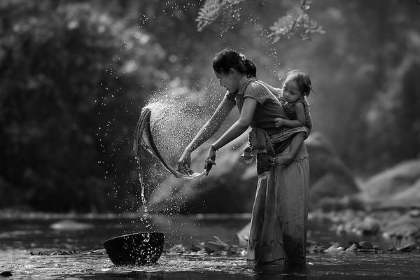 Mother Photograph - Laundry by Asit