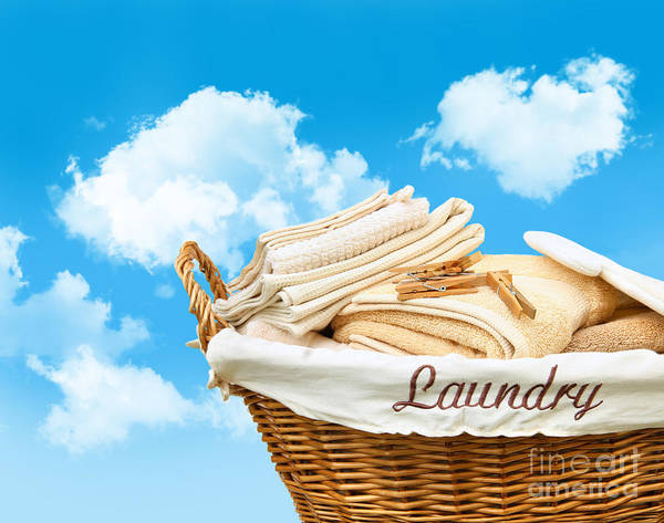 Cloth Digital Art - Laundry Basket  Against A Blue Sky by Sandra Cunningham