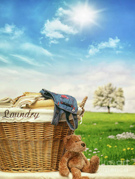 Photograph - Laundry Basket With Clothes Against A Blue Sky by Sandra Cunningham