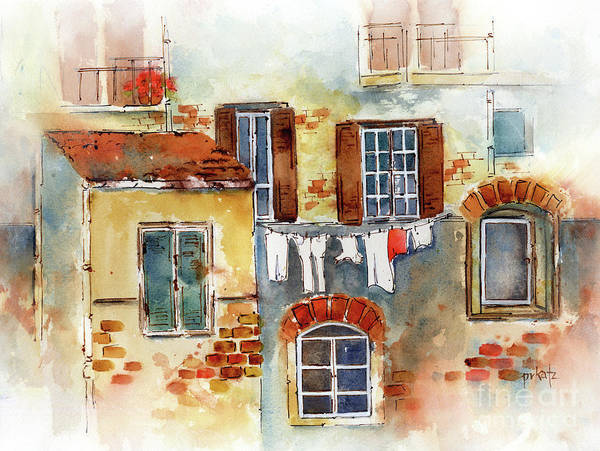 Clothesline Painting - Laundry Day In Europe by Pat Katz