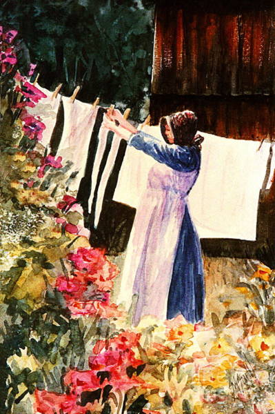 Clothesline Painting - Laundry Day by Marilyn Smith