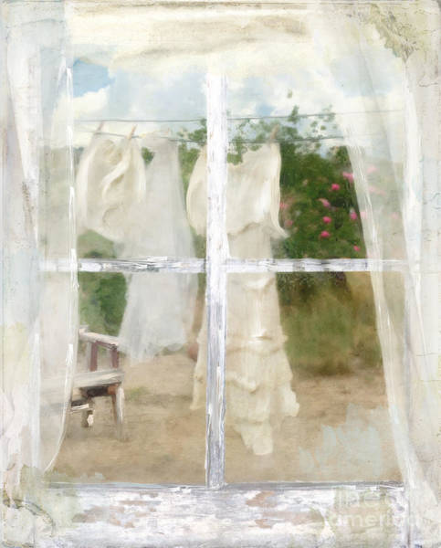 Clothesline Painting - Laundry Day by Mindy Sommers