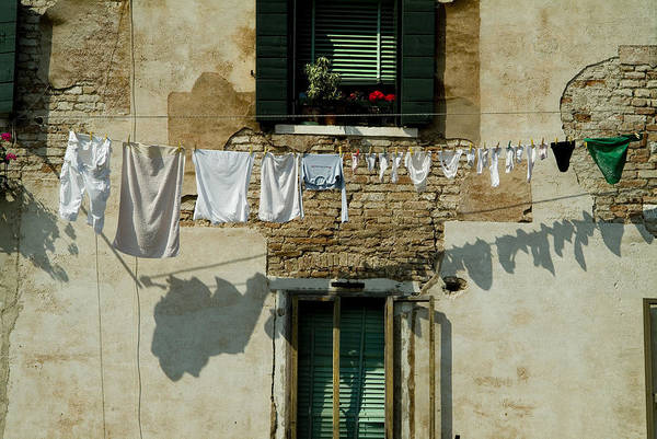 Clothesline Photograph - Laundry Hanging On A Line In Venice by Todd Gipstein