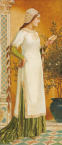 Wall Art - Painting - Laura Reading by Walter Crane
