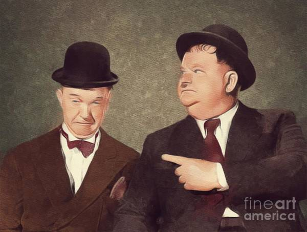 Laurel Wall Art - Painting - Laurel And Hardy, Hollywood Legend by Mary Bassett